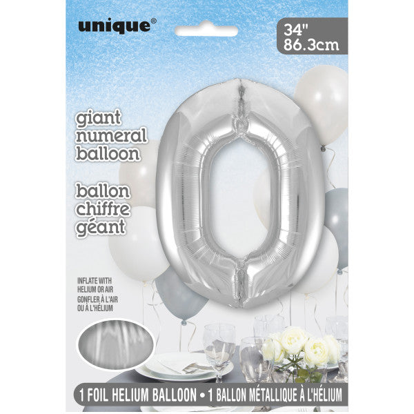 "Giant 34"" Number 0 Silver Foil Helium Balloon"
