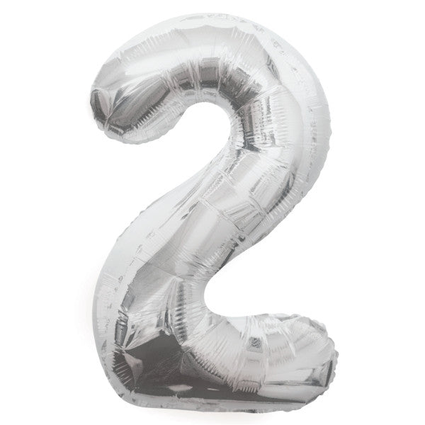 "Giant 34"" Number 2 Silver Foil Helium Balloon"