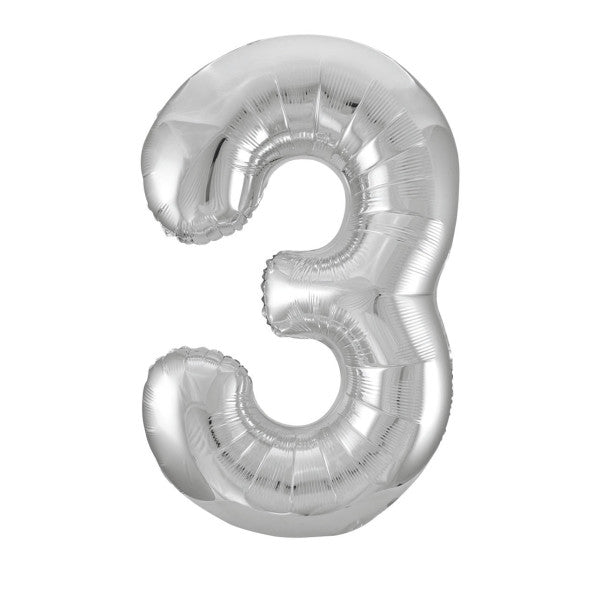 "Giant 34"" Number 3 Silver Foil Helium Balloon"