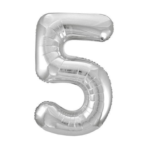 "Giant 34"" Number 5 Silver Foil Helium Balloon"