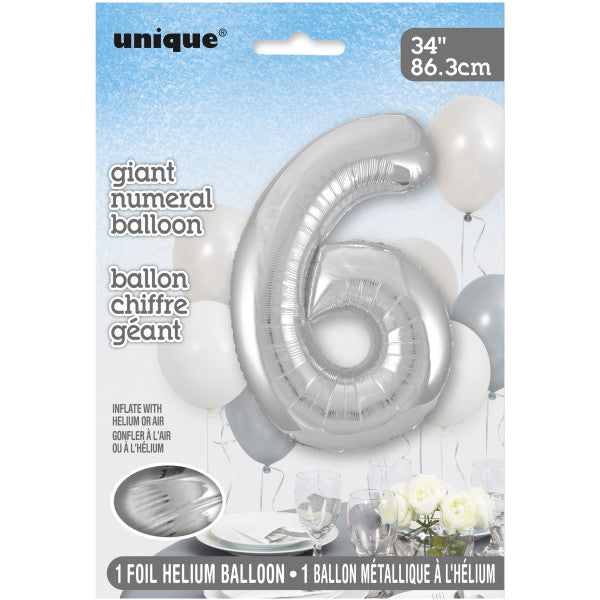 "Giant 34"" Number 6 Silver Foil Helium Balloon"