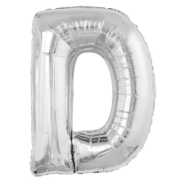 "Giant 34"" Letter D Silver Foil Helium Balloon"
