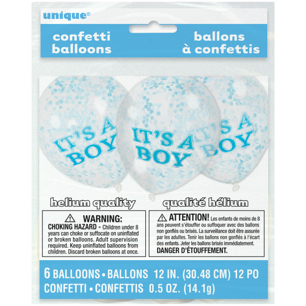 "12"" Helium Confetti Balloons ""It's A Boy"" With Blue Confetti, 6-ct."