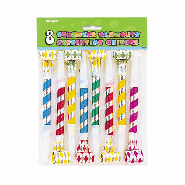 Squawker Blowouts Party Favors Diamond Shapes, 8-ct.