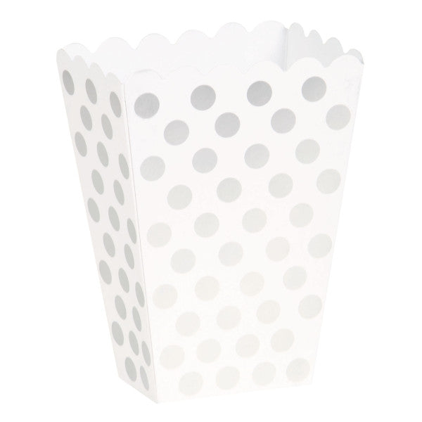 Treat Boxes White With Silver Dots, 8-ct.