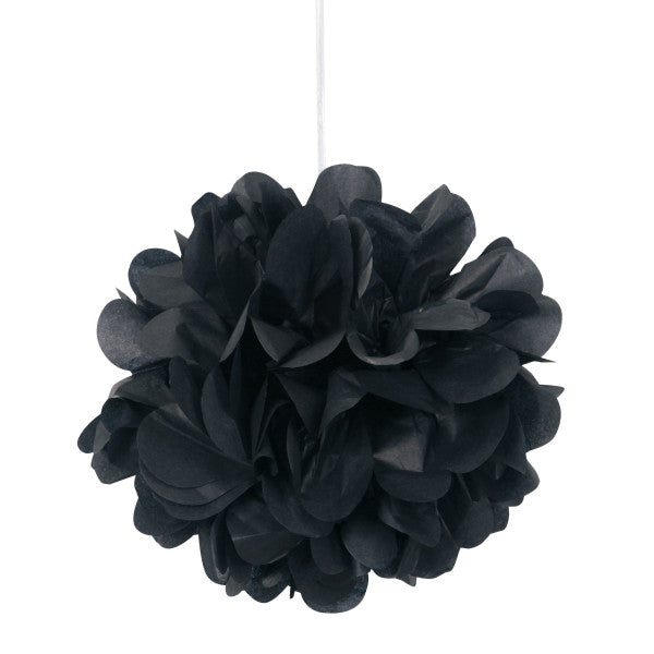 "9"" Mini Puff Balls Black Decorations, 3-ct."