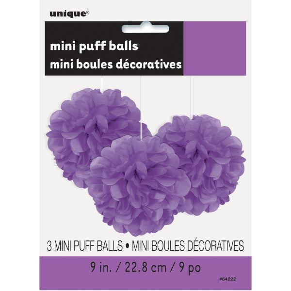 "9"" Mini Puff Balls Purple Decorations, 3-ct."