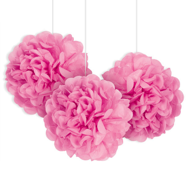 "9"" Mini Puff Balls Pink Decorations, 3-ct."