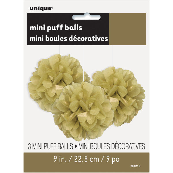 "9"" Mini Puff Balls Light Brown Decorations, 3-ct."