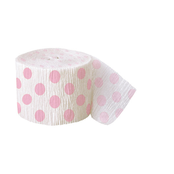 Party Streamer White With Light Pink Polka Dots, 30 ft. x 1.875 in.