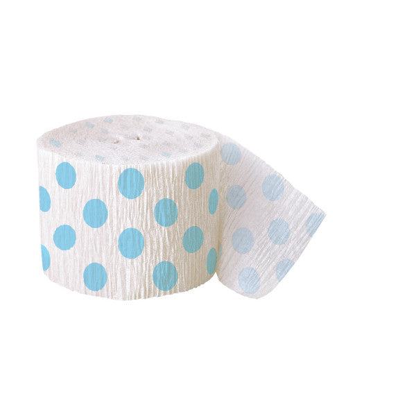 Party Streamer White With Light Blue Polka Dots, 30 ft. x 1.875 in.