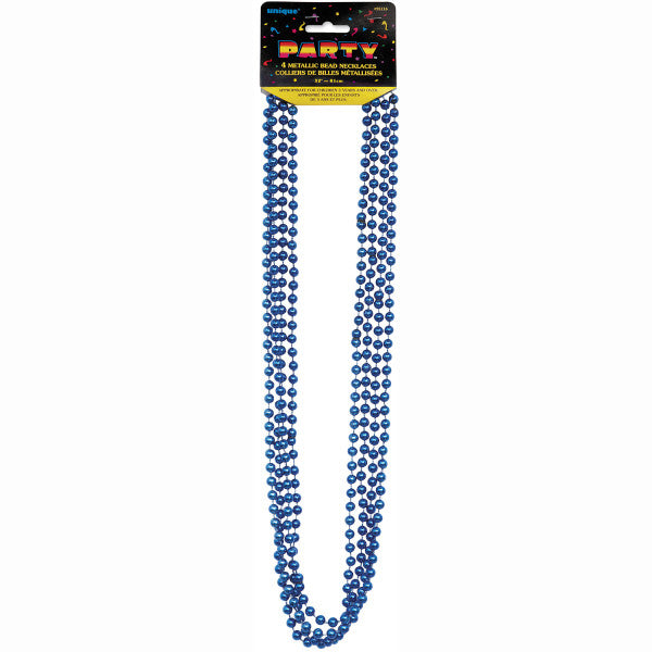 "32"" Metallic Bead Necklaces Blue, 4-ct."