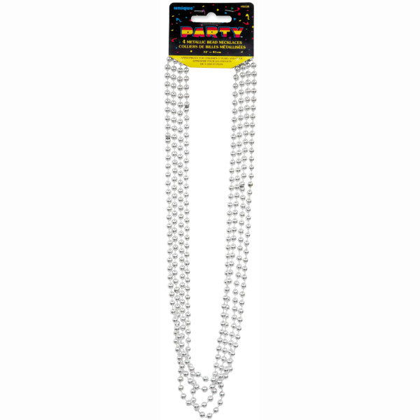"32"" Metallic Bead Necklaces Silver, 4-ct."