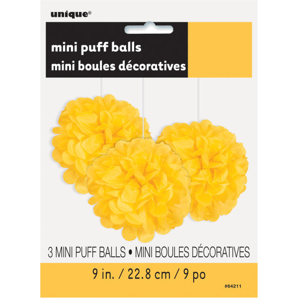 "9"" Mini Puff Balls Yellow Decorations, 3-ct."