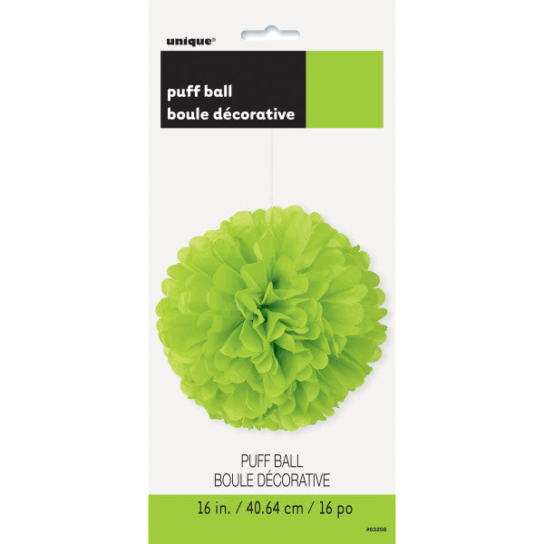 "16"" Large Puff Ball Bright Green Decorations, 1-ct."