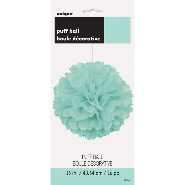 "16"" Large Puff Ball Teal Decorations, 1-ct."