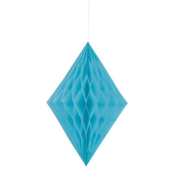"14"" Large Honeycomb Diamond Hanging Light Blue Decorations, 1-ct."