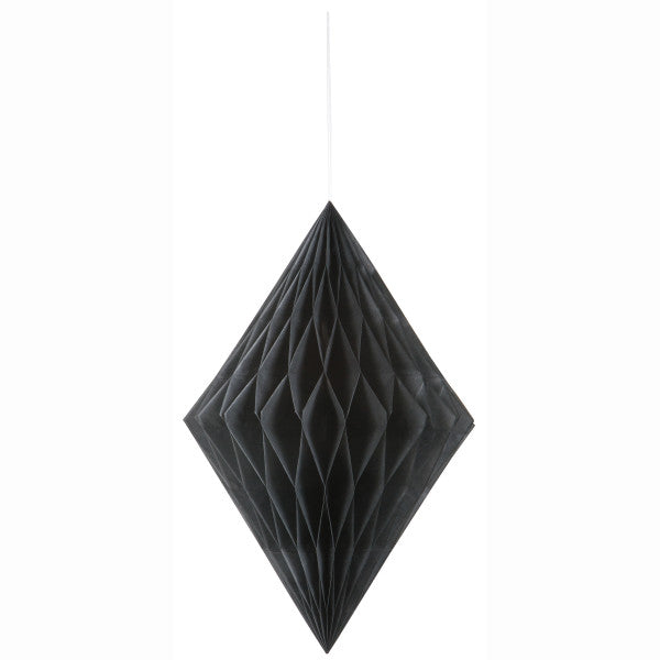 "14"" Large Honeycomb Diamond Hanging Black Decorations, 1-ct."