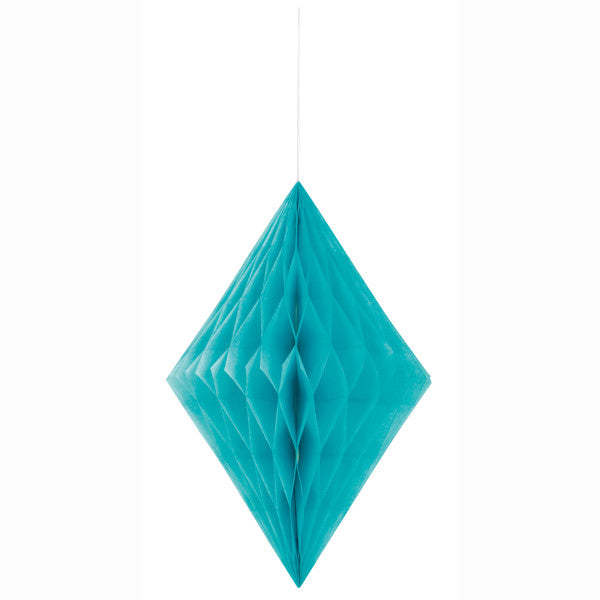 "14"" Large Honeycomb Diamond Hanging Turquoise Decorations, 1-ct."