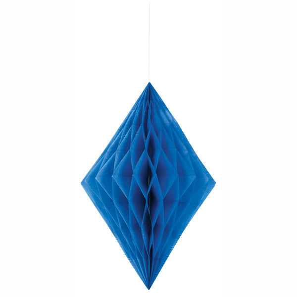 "14"" Large Honeycomb Diamond Hanging Blue Decorations, 1-ct."