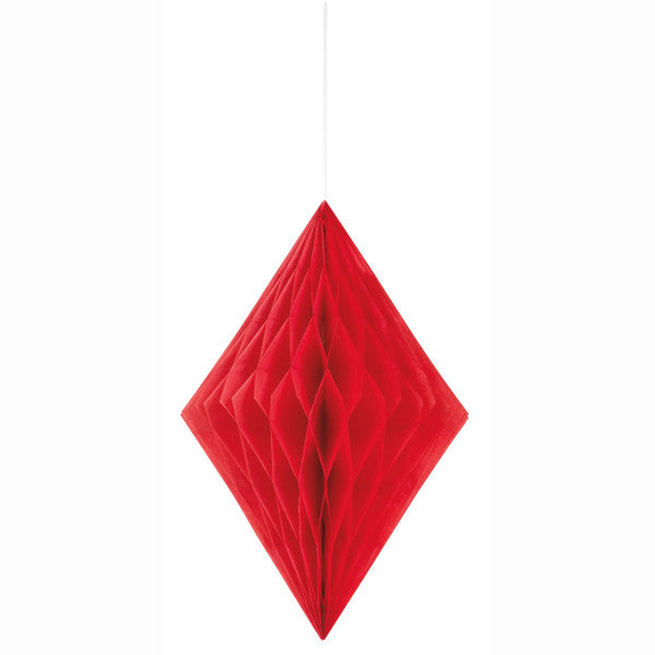 "14"" Large Honeycomb Diamond Hanging Red Decorations, 1-ct."