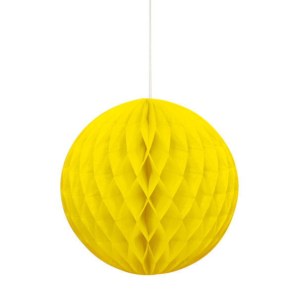 "8"" Honeycomb Ball Hanging Yellow Decorations, 1-ct."