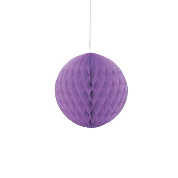 "8"" Honeycomb Ball Hanging Purple Decorations, 1-ct."