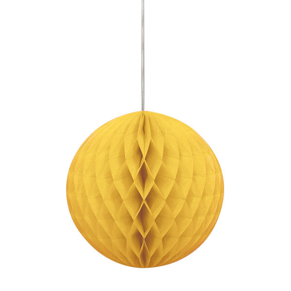 "8"" Honeycomb Ball Hanging Golden Yellow Decorations, 1-ct."