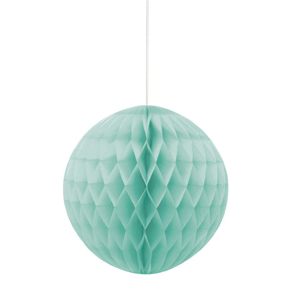 "8"" Honeycomb Ball Hanging Light Teal Decorations, 1-ct."