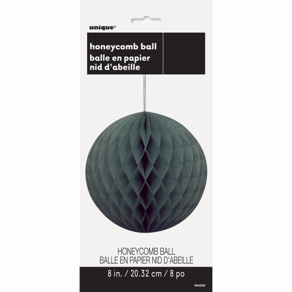 "8"" Honeycomb Ball Hanging Black Decorations, 1-ct."