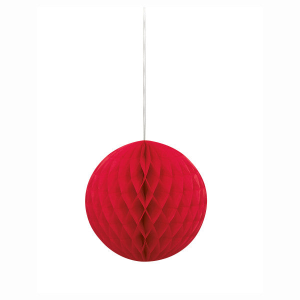 "8"" Honeycomb Ball Hanging Red Decorations, 1-ct."