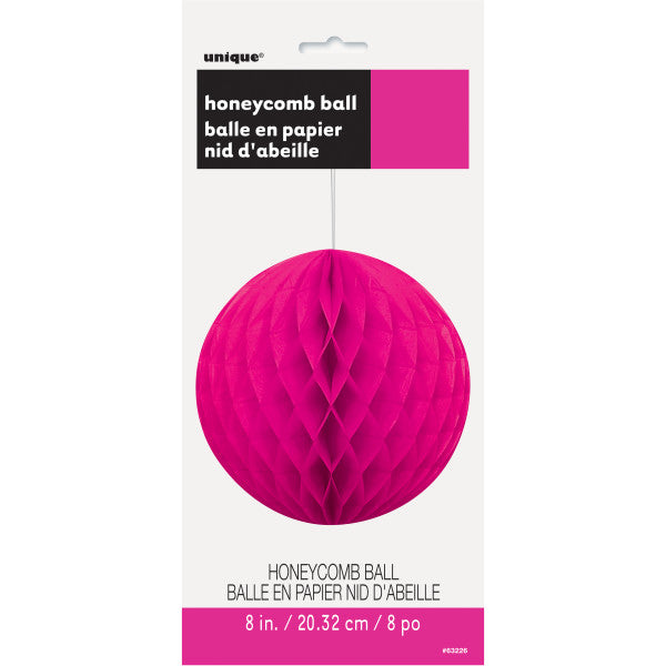 "8"" Honeycomb Ball Hanging Hot Pink Decorations, 1-ct."