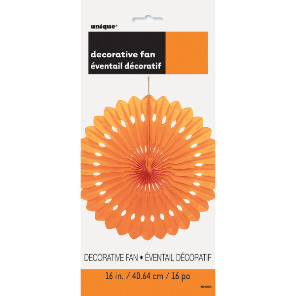 "16"" Decorative Fan Orange Decorations, 1-ct."