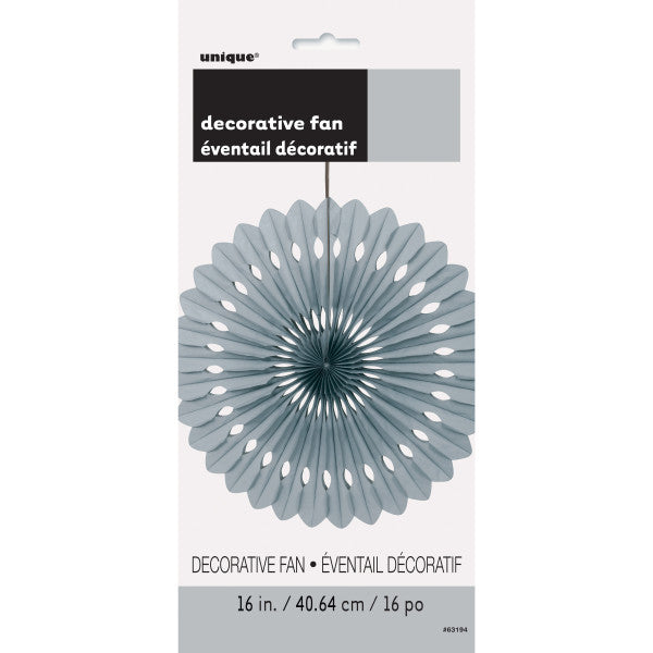 "16"" Decorative Fan Silver Decorations, 1-ct."
