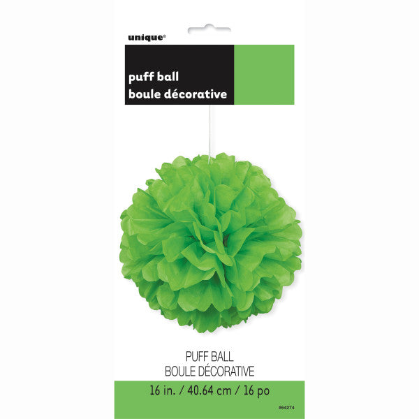 "16"" Large Puff Ball Lime Green Decorations, 1-ct."