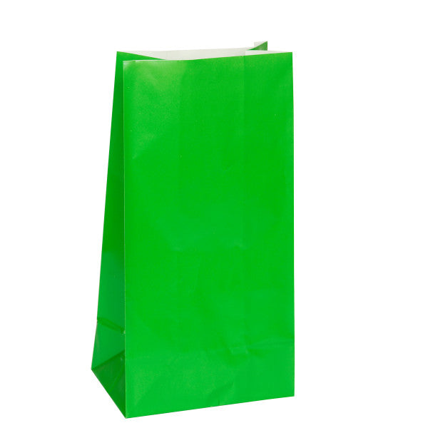 Party Paper Bags Sacs Green, 12-ct.