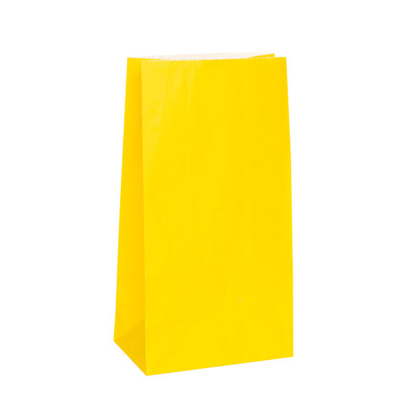 Party Paper Bags Sacs Yellow, 12-ct.