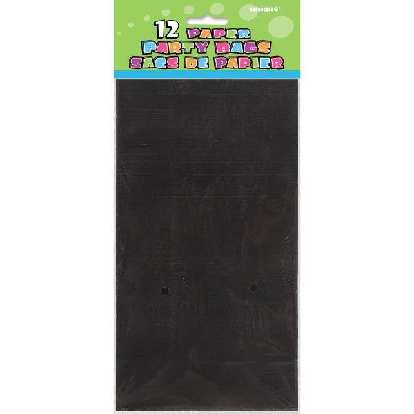 Party Paper Bags Sacs Black, 12-ct.