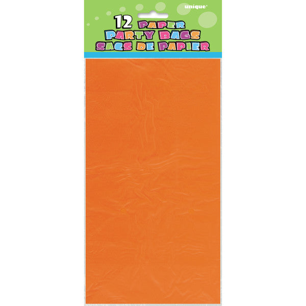 Party Paper Bags Sacs Orange, 12-ct.