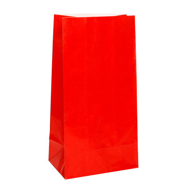 Party Paper Bags Sacs Red, 12-ct.