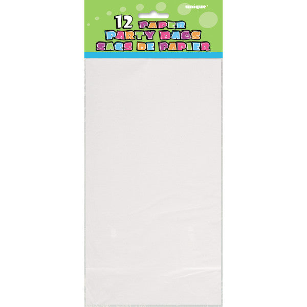 Party Paper Bags Sacs White, 12-ct.