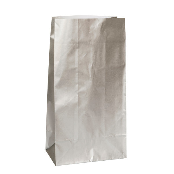 Party Paper Bags Sacs Silver, 12-ct.