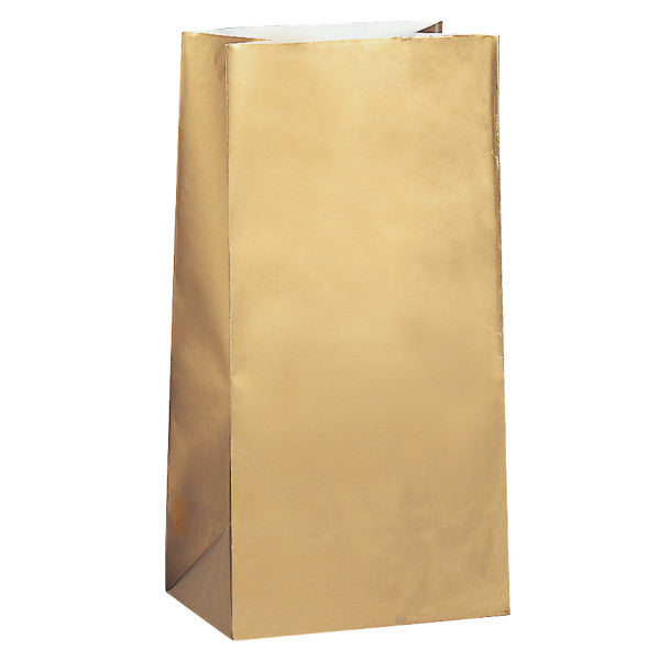 Party Paper Bags Sacs Gold, 12-ct.