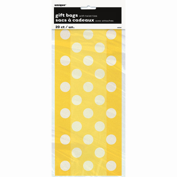 Party Gift Bags With Twist Ties Yellow With White Polka Dots, 20-ct.