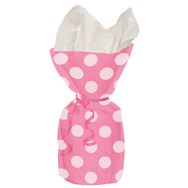 Party Gift Cellophane Bags Pink With White Polka Dots, 20-ct.