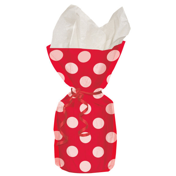 Party Gift Cellophane Bags Red With White Polka Dots, 20-ct.