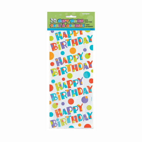 Party Gift Bags With Twist Ties Happy Birthday Design, 20-ct.