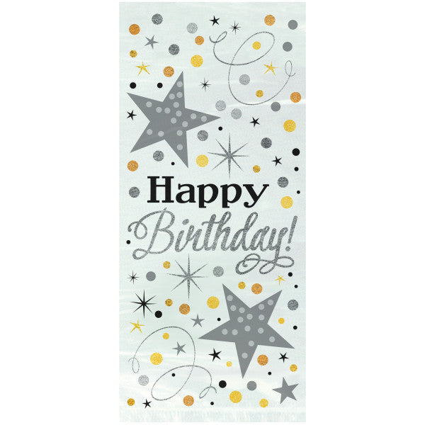 Party Gift Bags With Twist Ties Happy Birthday Star Design, 20-ct.