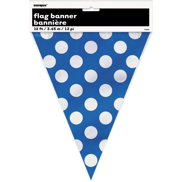 Flag Banner Blue With White Polka Dots Decorations, 12 ft.