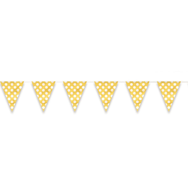 Flag Banner Yellow With White Polka Dots Decorations, 12 ft.